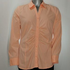 Attention Long Sleeve Ruched Button Shirt, XL